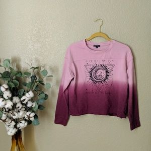 Fifth Sun Pink Ombre Crop Pullover Sz L